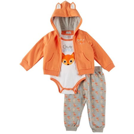Quiltex Baby Boys 3-pc. Clever Fox Hoodie Layette