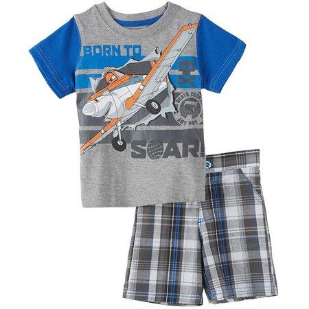 Disney Planes Baby Boys Plaid Shorts Set