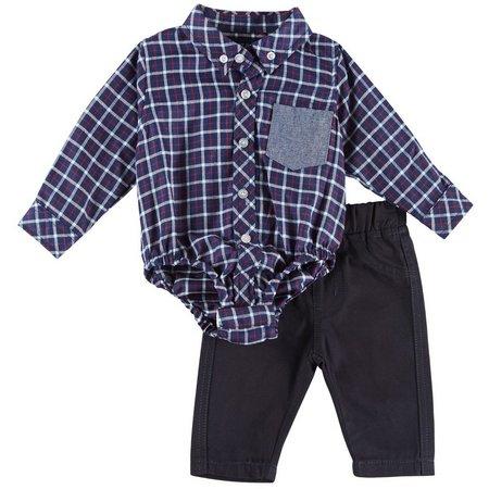 Andy & Evan Baby Boys Plaid Flannel Bodysuit