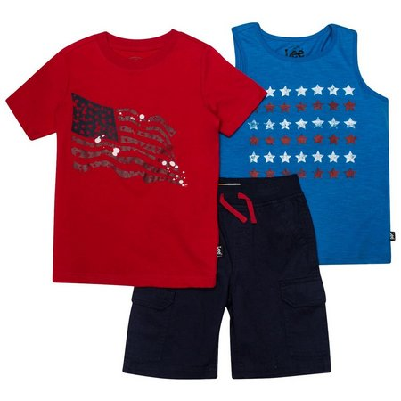 Lee Little Boys 3-pc. American Flag Shorts Set