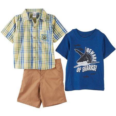Boyz Wear Little Boys 3-pc. Shark Shorts Set
