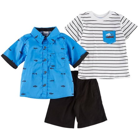 Nannette Little Boys 3-pc. Grand Prix Shorts Set