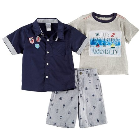 Nannette Little Boys 3-pc. Let's Explore Shorts Set