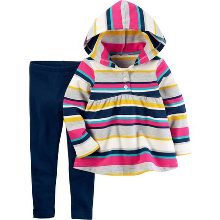 Carters Toddler Girls Stripe Hooded Tunic Set