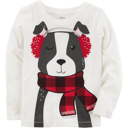 Carters Toddler Girls Christmas Dog T-Shirt