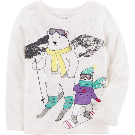 Carters Toddler Girls Skiing Polar Bear T-Shirt