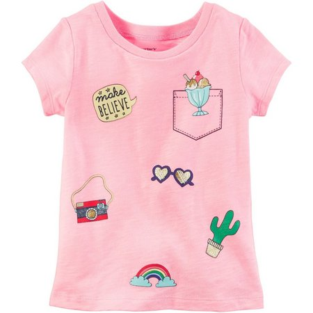 Carters Toddler Girls Neon Patches T-Shirt