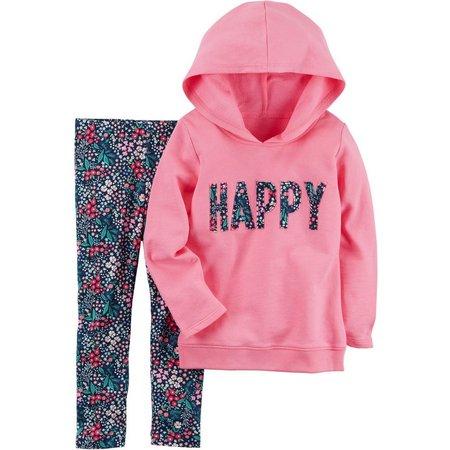Carters Toddler Girls Happy Hoodie Floral Leggings Set