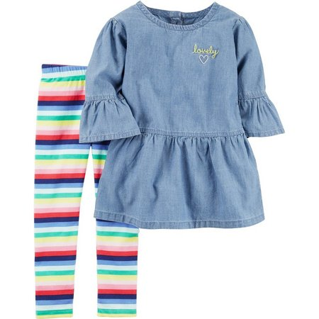 Carters Toddler Girls Lovely Tunic Stripe Leggings Set