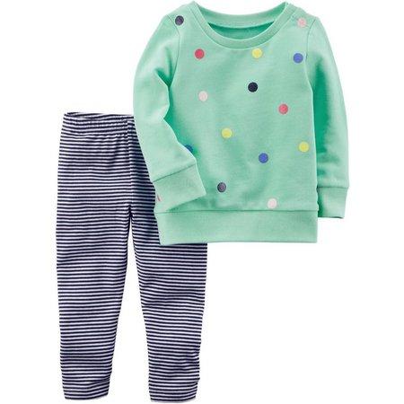 Carters Toddler Girls Polka Dot Stripe Pants Set