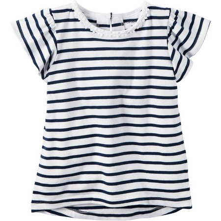 Carters Toddler Girls Striped Flutter T-Shirt