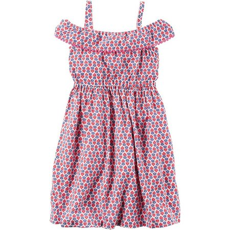 Carters Toddler Girls Floral Pom Pom Dress