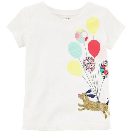 Carters Toddler Girls Glitter Balloon Dog T-Shirt