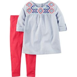 Carters Toddler Girls Embroidered Pants Set