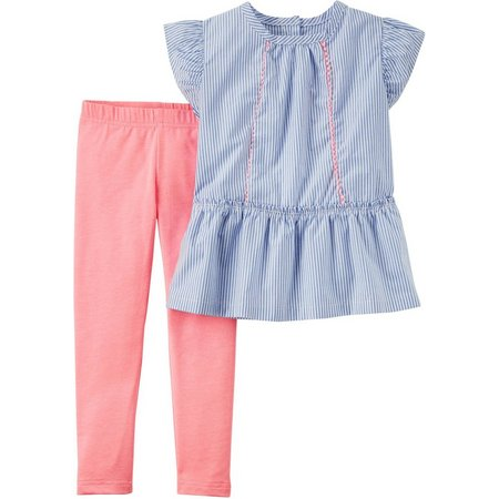 Carters Toddler Girls Stripe Chambray Leggings Set