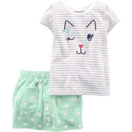 Carters Toddler Girls Kitty Cat Skort Set
