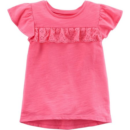 Carters Toddler Girls Solid Ruffle T-Shirt