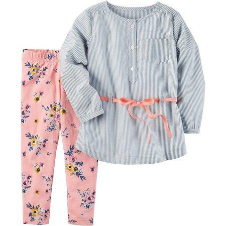 Carters Toddler Girls Stripe Floral Leggings Set