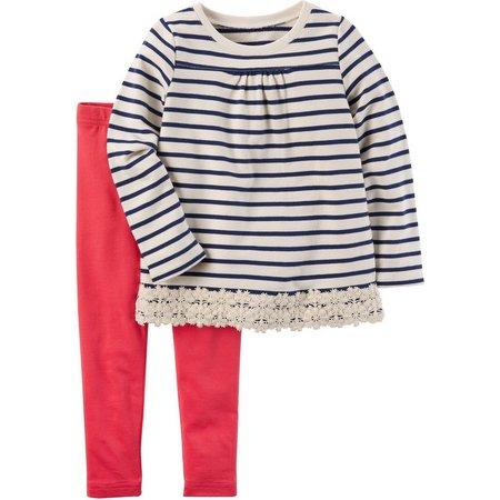 Carters Toddler Girls Lace Trim Leggings Set