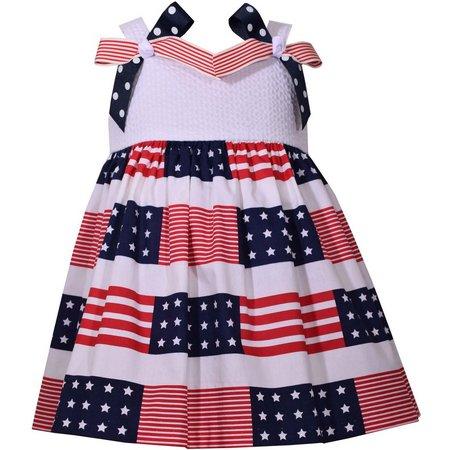 Bonnie Jean Toddler Girls Flag Bow Dress
