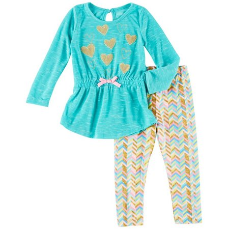Cherokee Toddler Girls Heart Tunic Leggings Set