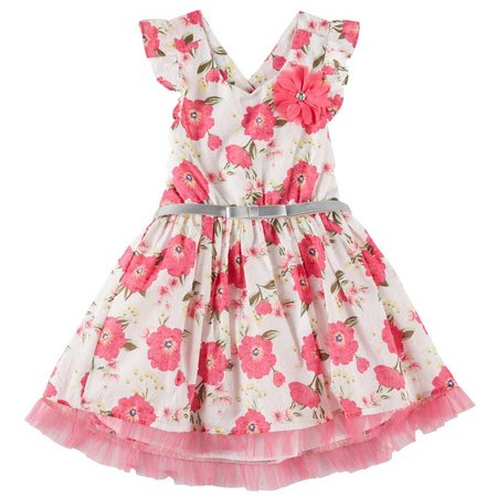 Little Lass Toddler Girls Belted Floral Dress