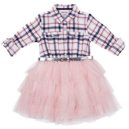 Little Lass Toddler Girls Plaid Belted Tutu Dress