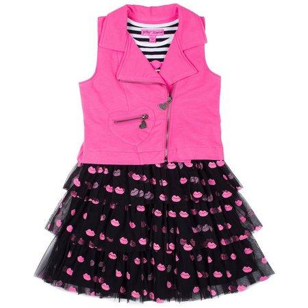 New! Betsey Johnson Toddler Girls Lips Dress Set
