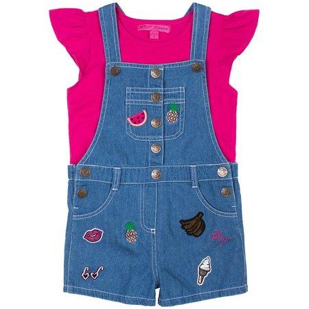 Betsey Johnson Toddler Girls Patch Shortall Set