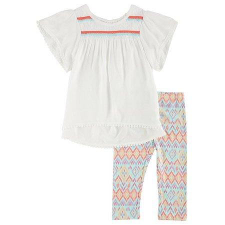 Kidtopia Toddler Girls Crochet Aztec Leggings Set