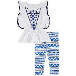 New! Kidtopia Toddler Girls Aztec Leggings Set