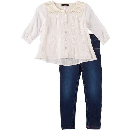 Kensie Toddler Girls Linen Tunic Jeans Set