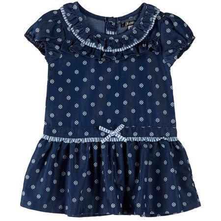 Kensie Toddler Girls Floral Ruffle Denim Dress