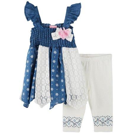 Nannette Toddler Girls Denim Capri Pants Set