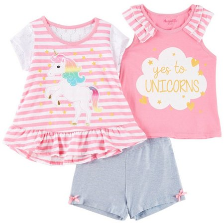 Nannette Toddler Girls 3-pc. Yes To Unicorns Shorts