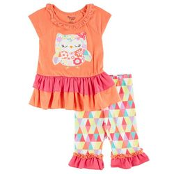 Nannette Toddler Girls Owl Ruffle Pants Set