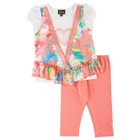 Lilt Toddler Girls Floral Vest Capris Set