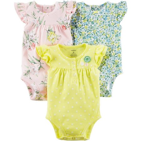 Carters Baby Girls 3-pk. Floral Bodysuits