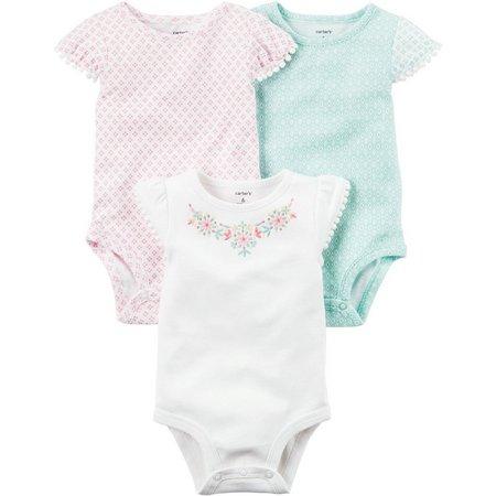 Carters Baby Girls 3-pk. Pom Pom Sleeve Bodysuits