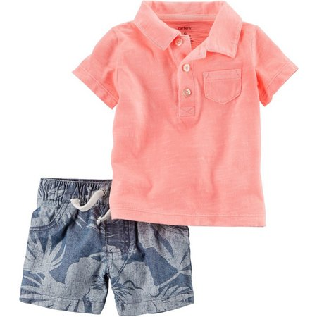 Carters Baby Boys Palm Chambray Shorts Set
