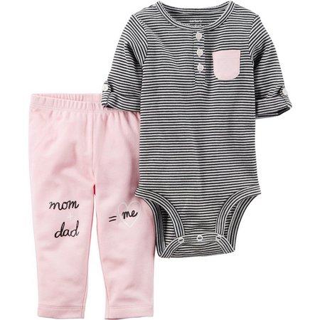 Carters Baby Girls Mom & Dad Stripe Bodysuit
