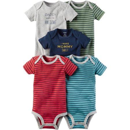 New! Carters Baby Boys 5-pk. Little Monster Bodysuits