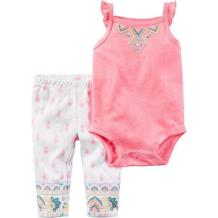 Carters Baby Girls Batik Pants Set