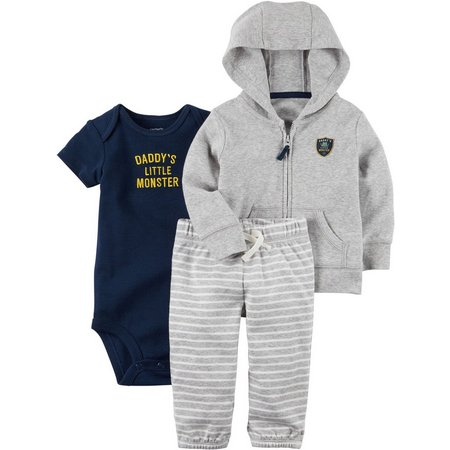 New! Carters Baby Boys 3-pc. Little Monster Hoodie