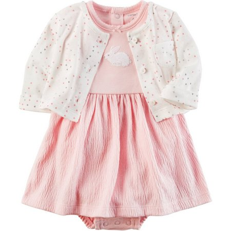 Carters Baby Girls Baby Pink Bunny Dress Set