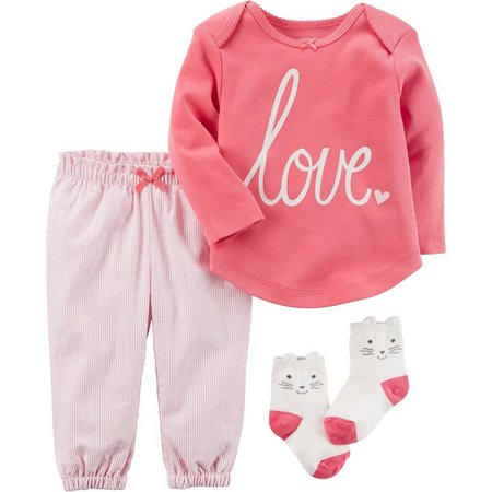Carters Baby Girls 3-pc. Baby Pink Bow Layette