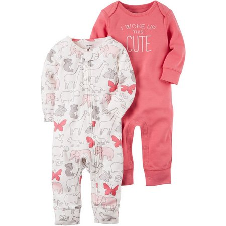 Carters Baby Girls 2-pk. Baby Pink Cute Jumpsuits