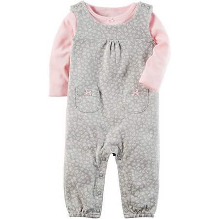 Carters Baby Girls Baby Pink Floral Jumpsuit Set