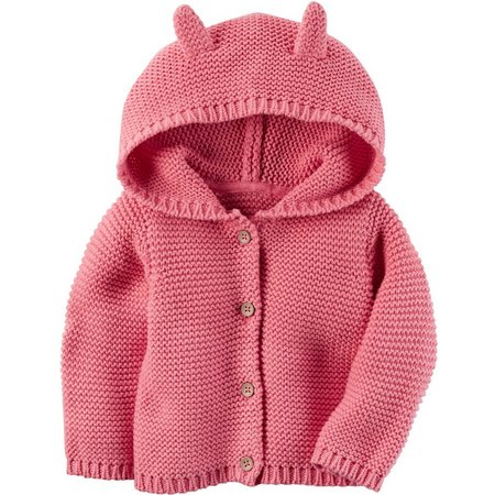 New! Carters Baby Girls Baby Pink Hooded Cardigan