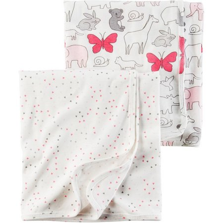 New! Carters Baby Girls 2-pk. Baby Pink Blanket